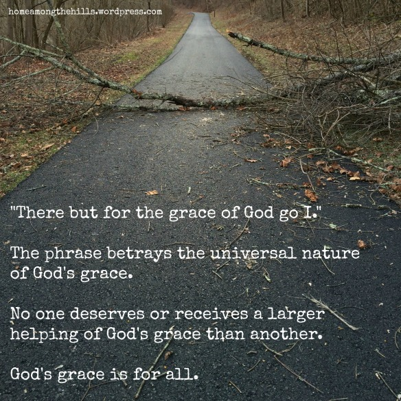 "The photo is of a paved trail blocked by a fallen tree branch. The text says, ""'There but for the grace of God go I.' The phrase betrays the universal nature of God's grace. No one deserves or receives a larger helping of God's grace than another. God's grace is for all."""